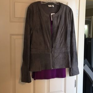Faux leather grey jacket